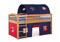 Alaterre Addison Cinnamon Finish Junior Loft Bed; Blue Tent and Playhouse with Red Trim