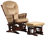 Dutailier C00-62A Silver Two Post Glider and Ottoman Combo