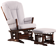 Dutailier C00-62B Silver Two Post Glider and Ottoman Combo