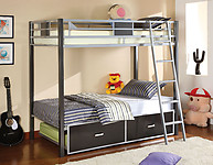 Furniture of America Cletis Bunk Bed Silver & Gun Metal