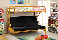 Furniture of America Rainbow Twin/Futon Base Bunk Bed Orange