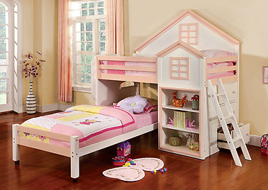 Furniture of America Citadel Bunk Bed White & Pink