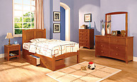 Furniture of America Cara Collection 4-Piece Set Oak
