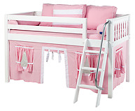 Maxtrix Easy Rider 23 Low Loft Bed with Angle Ladder and Curtain