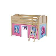 Maxtrix Easy Rider 28 Low Loft Bed with Angle Ladder and Curtain