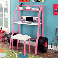 Furniture of America Power Racer II Desk with Stool Pink