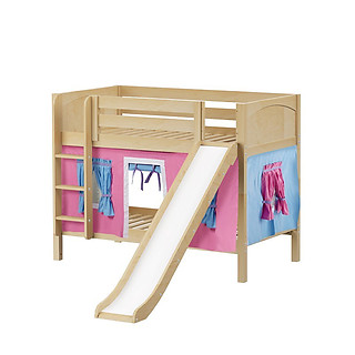 Maxtrix SMILE 28 Low Bunk Bed with Straight Ladder, Slide & Curtain