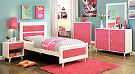 Furniture of America Alivia Collection 4-Piece Set Pink & White