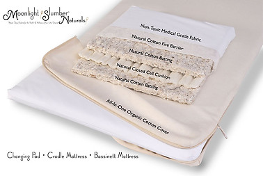 Moonlight Slumber Natural Cotton Cradle Mattress with all in one Organic Cotton Coverlet