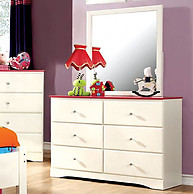 Furniture of America Kimmel Dresser Pink & White