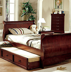 Furniture of America Louis Philippe Jr. Bed with Trundle Cherry